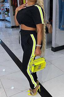 Black Cotton Blend  Side Strip Short Sleeve Round Neck T-Shirt Long Pants Sets TK6188-2