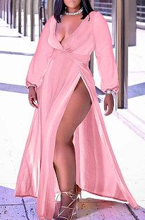 Pink Sexy Big Yards Long Sleeve V Collar Slim Fitting Solid Color Slit Dress WA77273-1