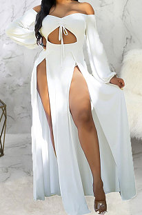 White Sexy Wholesale Off Shoulder Long Sleeve Collect Waist Slit  Strapless Dress SMR10305-3