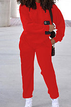 Red Simple Sport Loose Long Sleeve Round Neck Pocket Jumper Long Pants Solid Color Sets SM9206-3