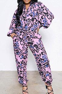 Purple Women Snakeskin Camo Shirts Printing Pants Sets AD0915-3
