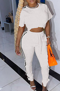 White Cotton Blend  Side Strip Short Sleeve Round Neck T-Shirt Long Pants Sets TK6188-1