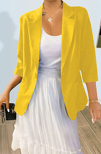 YellowPure And Fresh Newest Linen Three Quarter Sleeve Lapel Neck Cardigan Suits Coat QY5085-2