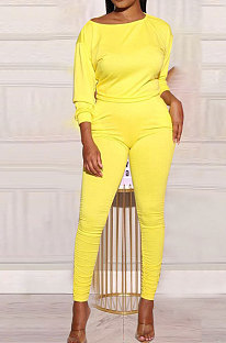 Yellow Cotton Blend Pure Color Long Sleeve Loose T-Shirts Bodycon Pants Slim Fitting Sets OH8092-1