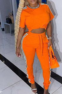 Orange Cotton Blend  Side Strip Short Sleeve Round Neck T-Shirt Long Pants Sets TK6188-3