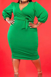 Green Fashion Big Yards Pure Color Puff Sleeve V Neck Bandage Fat Women Dress WA77249-2