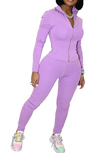 Purple Wholesale Sport Pure Color Long Sleeve Stand Neck Zip Tops Pencil Pants Slim Fitting Two-Piece YSH86268-3