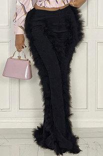 Black Women Autumn Winter Corduroy Rough Selvedge Mid Waist Solid Color Flare Leg Pants MLM9078-1