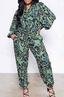 Green Women Snakeskin Camo Shirts Printing Pants Sets AD0915-1