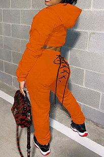 Orange Women Hooded Long Sleeve Fleece Solid Color Bandage Long Pants Sets CSY830-3