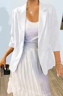 White Pure And Fresh Newest Linen Three Quarter Sleeve Lapel Neck Cardigan Suits Coat QY5085-1