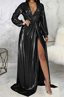 Black Club Hot Starmping Long Sleeve V Collar Slim Fitting Sexy Slit Swing Long Dress SMR10194-2