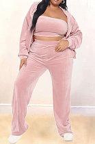 Pink Velvet Fat Women Long Sleeve Zip Front Hooded Coat &Strapless High Waist Wide Leg Pants Three Piece ZNN9111-2