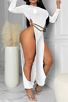 White Cotton Blend Club Long Sleeve Round Neck Elastic  Hollow Out Solid Color Jumpsuits YYF8248-1