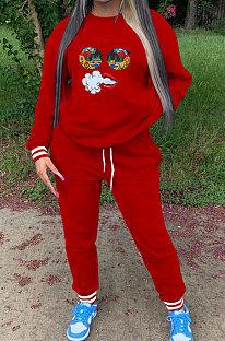 Red Ribber Cute Pattern Print Webbing Spliced Long Sleeve Jumper Sweat Pants Casual Sets SZS8177-2