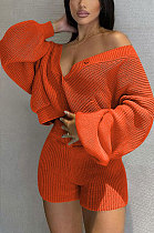 Orange Cute Simple Long Sleeve V Neck Cardigan Tops Shorts Solid Color Sweater Sets F88393-2