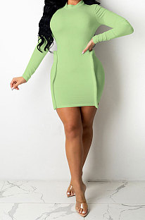 Green Simple Newest Ribber Long Sleeve High Neck Elastic Slim Fitting Hip Dress DR88123-5