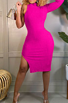 Rose Red Wholesale Ribber Pure Color One Sleeve High Neck Slim Fittin Slit Hip Dress BS1288-2