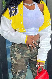 Yellow Euramerican Women Autumn Winter Printing Long Sleeve Cradigan Fashion Casual Short Jacket WSY5891-9