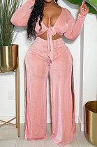 Pink Wholesale Women Velvet Long Sleeve Bandage Strapless Slit Wide Leg Pants Casual Sets DN8634-1