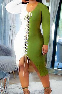 Army Green Autumn Winter Spliced Long Sleeve V Neck Eyelet Bandage Slit Wrap Dress DN8635-3