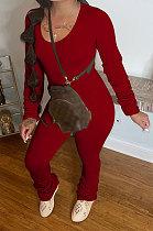 Drak Red Botton Blend Pure Color Long Sleeve V Neck T-Shirts Pencil Pants Slim Fitting Ruffle Sets DR88124-2