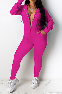 Rose Red Casual Newest Long Sleeve Zip Front Hoodie Pencil Pants Sport Sets DR88126-1