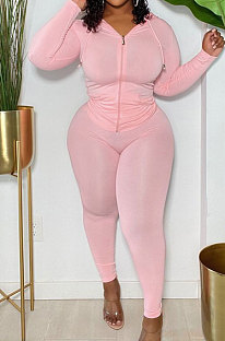 Pink Modest Simple Long Sleeve Hoodie Bodycon Pants Solid Color Slim Fitting Sets DN8633-2