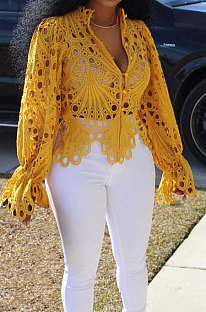 Yellow Euramerican Women Hole Sexy Horn Sleeve  Bodycon Cardigan T Shirts XQ1149-3