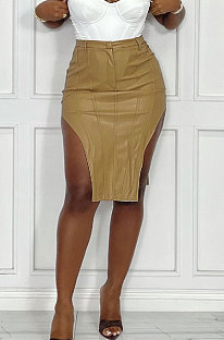 Khaki Fashion Elastic PU Leather Slit Button Zipper Hip Skirts BS1287-2