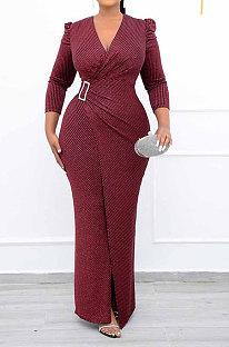 Wine Red Women Fashion Line Sexy Ruffle V Collar Mid Waist Long Dress YY5309-2