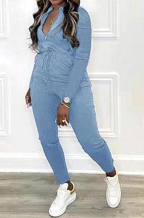 Blue Women Pure Color Pocket Zipper Casual Jumpsuit RB3208-3