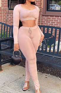 Pink Casual Pure Color Long Sleeve Dew Waist Pants Sets YY5307-1