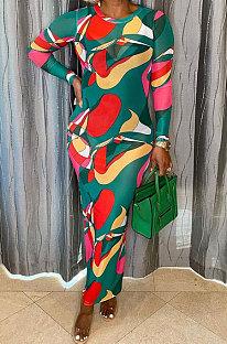 Green Women Printing Mesh Spaghetti Long Sleeve Round Collar Long Dress  RB3203-2