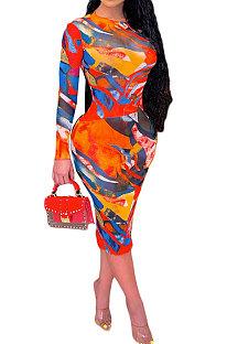 Orange Women Printing Sexy Perspectivity Round Collar Mid Waist Midi Dress YY5303-1