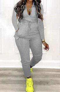 Gray Women Pure Color Pocket Zipper Casual Jumpsuit RB3208-2