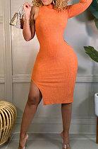 Orange Wholesale Ribber Pure Color One Sleeve High Neck Slim Fittin Slit Hip Dress BS1288-5