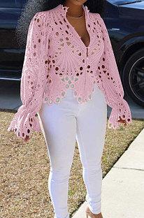 Pink Euramerican Women Hole Sexy Horn Sleeve  Bodycon Cardigan T Shirts XQ1149-2