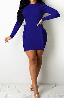 Blue Simple Newest Ribber Long Sleeve High Neck Elastic Slim Fitting Hip Dress DR88123-1