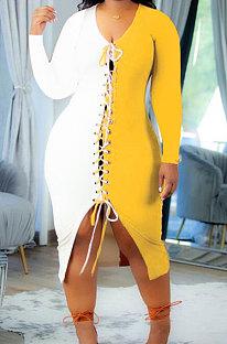 Yelllow Autumn Winter Spliced Long Sleeve V Neck Eyelet Bandage Slit Wrap Dress DN8635-1
