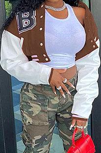 Brown Euramerican Women Autumn Winter Printing Long Sleeve Cradigan Fashion Casual Short Jacket WSY5891-7