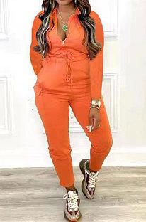 Orange Women Pure Color Pocket Zipper Casual Jumpsuit RB3208-6