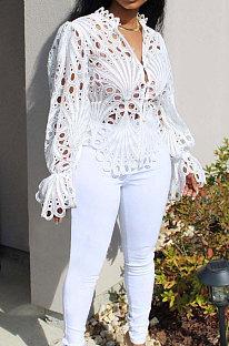 White Euramerican Women Hole Sexy Horn Sleeve  Bodycon Cardigan T Shirts XQ1149-1
