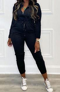 Black Women Pure Color Pocket Zipper Casual Jumpsuit RB3208-1