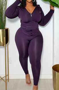 Purple  Modest Simple Long Sleeve Hoodie Bodycon Pants Solid Color Slim Fitting Sets DN8633-1