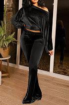 Black Women Solid Color Pullover Velvet A Word Shoulder Lantern Sleeve Pocket Flare Leg Pants Sets GL6517-3
