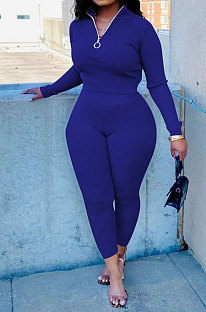 Blue New Wholesale Ribber Long Sleeve Zip Front T-Shirts Pencil Pants Slim Fitting Two-Piece DR88130-2