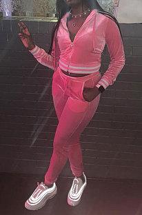 Pink Wholesale Women Velvet Webbint Spliced Long Sleeve Hoodie Bodycon Pants Casual Sport Sets LML271-1