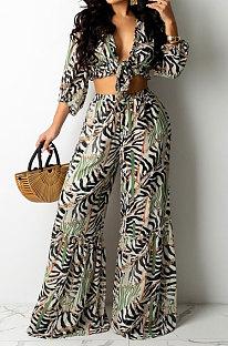 Multicolor Sexy Print Long Sleeve Cradigan Bandage Crop Tops High Waist Wide Leg Pants Two-Piece YG10821