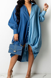 Blue Autumn Winter Loose Spliced Long Sleeve Lapel Neck Single-Breated Jean Shirt Dress ZS0422-3